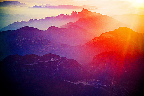 beautiful, colours, light, mountains, nature, photography, scenery, sun, sunrise, sunset