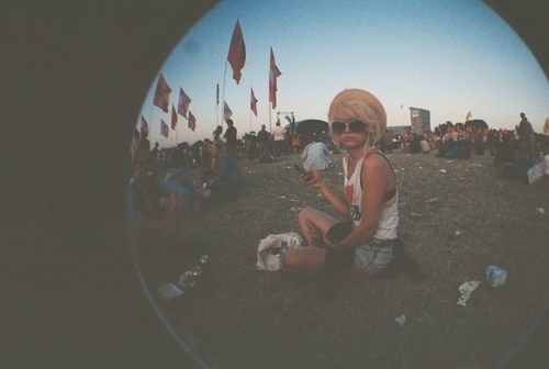beautiful, concert, fish eye, fisheye, girl, hat, indie, nature, party, pretty, urban, vintage
