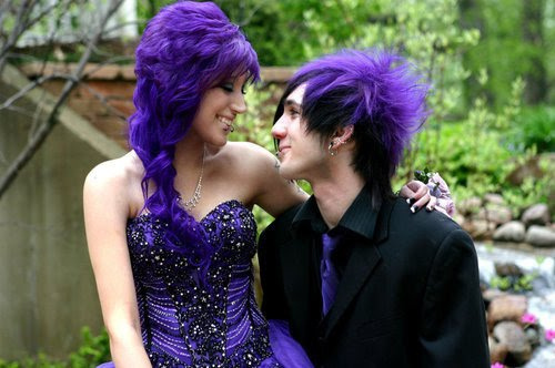 beautiful, couple, gothic, purple