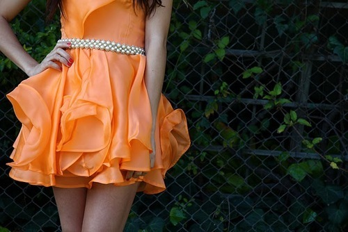 beautiful, dress, fashion, girl, orange