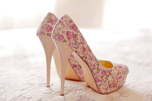 beautiful, flowers, heels, pink, shoes