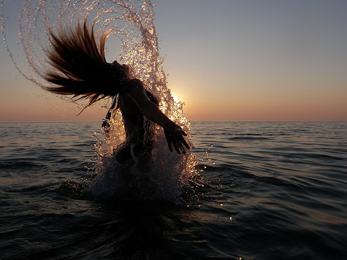 beautiful, girl, hair, ocean, splash