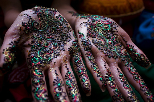 beautiful, glitter, hands, henna