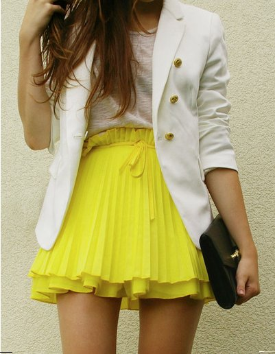 beauty, blazer, clothes, cool, cute, fashion, fashionable, girl, hair, jacket, model, photography, pretty, skirt, style, top, woman, yellow
