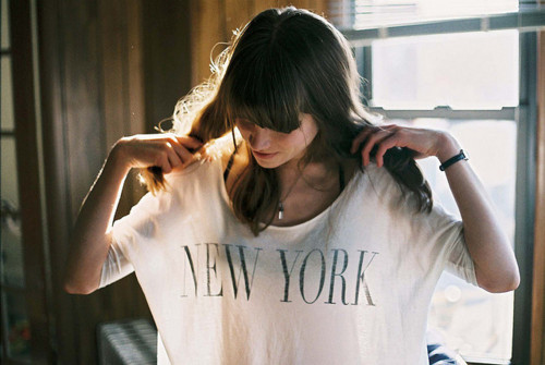 beauty, girl, hair, neckless, new york, t-shirt, woman