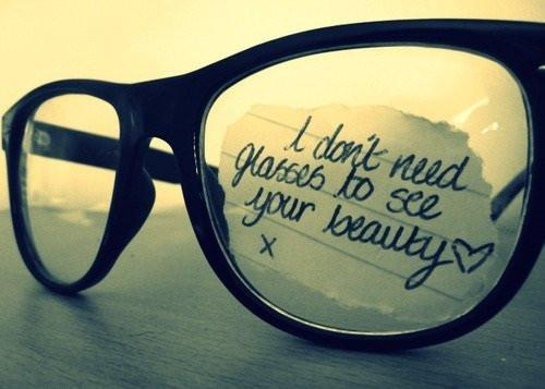 beauty, glasses, text