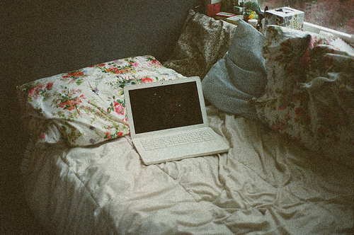 bed, bedroom, computer, cute, floral