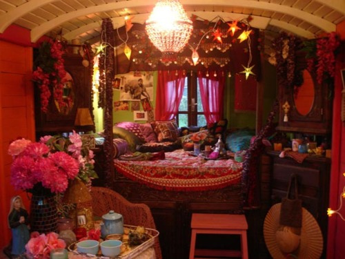 bed, bedroom, decor, gypsy, lights