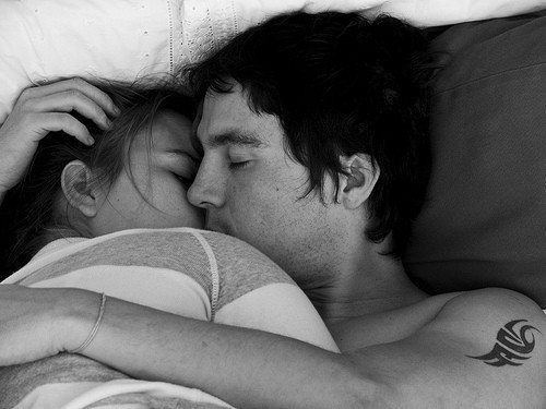 bed, black, black and white, boy, couple, cute, girl, hug, in love, kiss, love, loving, tattoo