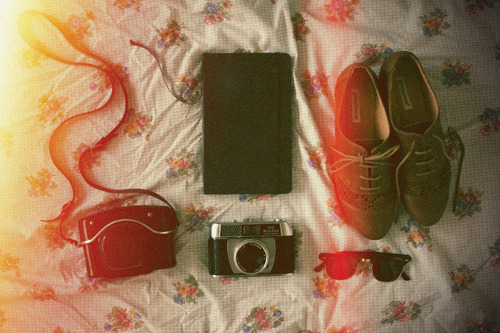 bed, book, camera, cameras, light, shoes, vintage