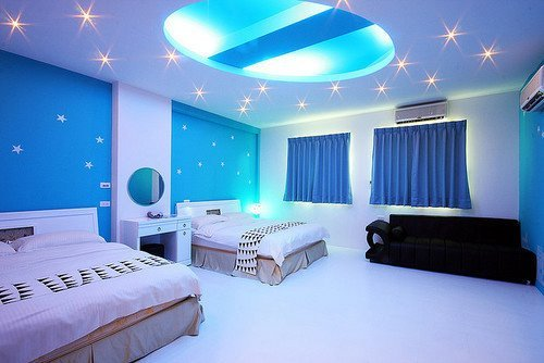 bedroom, blue, cute, sky, stars