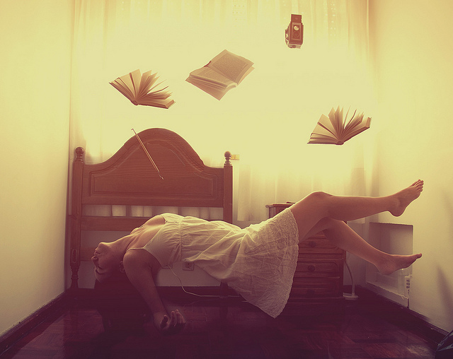 bedroom, books, floating, girl, photography