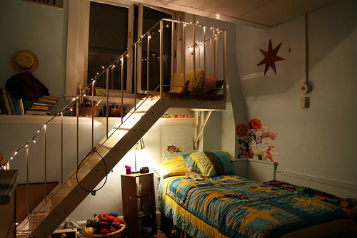 bedroom, lights, photography, staircase