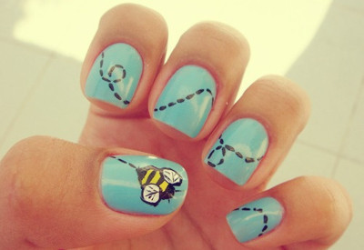 bee, blue, cute, girl, nail art