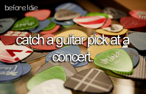 before i die, bucket list, concert, electric guitar, guitar pick