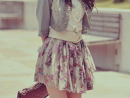 belt, cute, denim, fashion, floral, girl, jacket, skirt