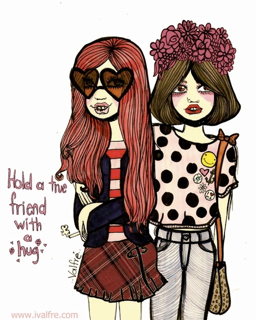 best friends, cute, drawing, fashion, friends