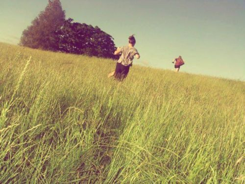 best friends, cute, dress, edit, friends, girl, girls, grass, hair, jersey, long grass, lovely bones, meadow, pretty jumper, running, singlet, sun, sun glasses, tree