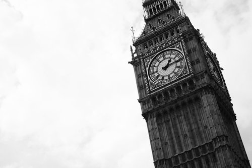 big ben, black and wite, city, clock, london