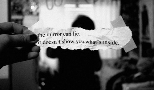 black & white, girl, inside, liar, lie, mirror, paper, phrase, quote