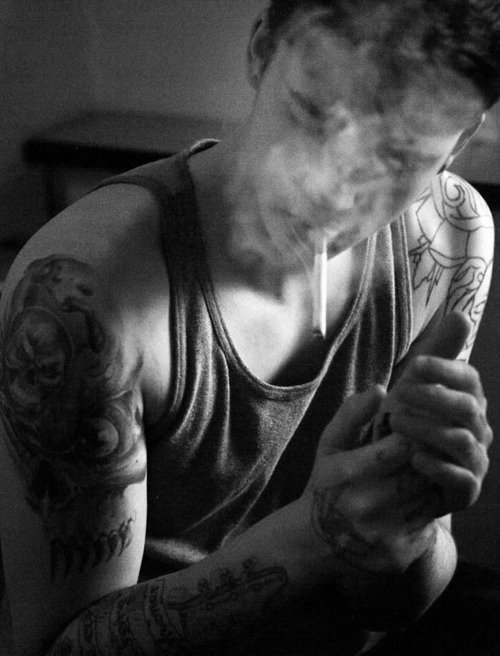 black and white, boy, cigarette, smoke, tattoo