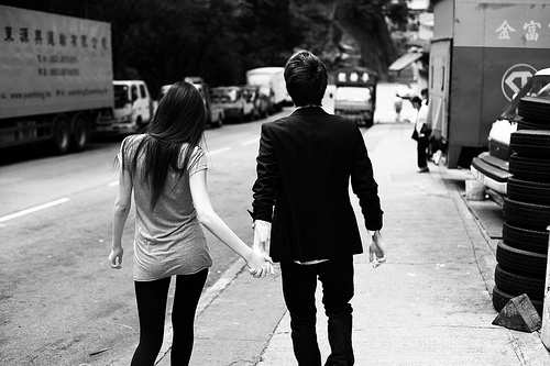 black and white, boy, city, couple, cute