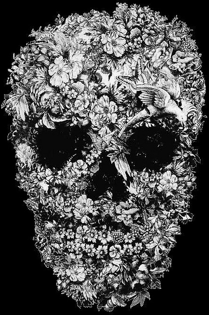 black and white, butterflies, flowers, skull