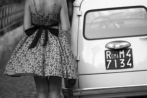 black and white, car, dress, girl, roma