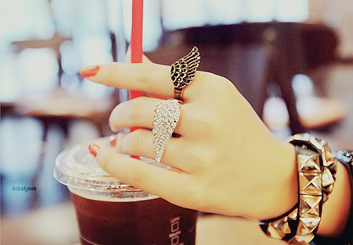 black and white, cofee, cute, girl, hand, jewelry, nails, red, red nails, ring