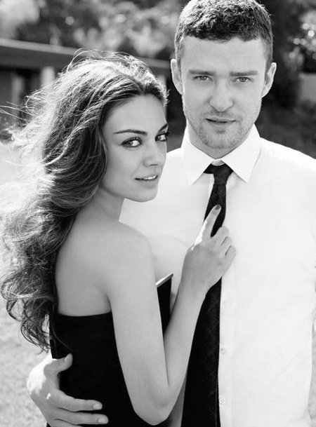 black and white, couples, cute, fashion, friends with benefits, justin timberlake, love, mila kunis, photograph, vintage