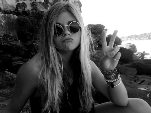 black and white, crazy, face, girl, glasses, peace