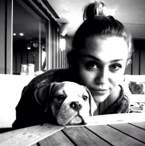 black and white, cute, miley cyrus