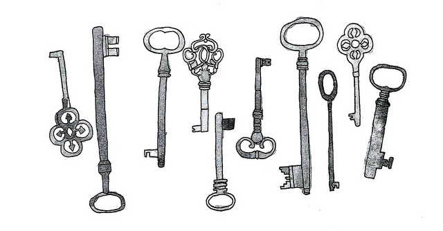 black and white, drawing, keys, vintage keys