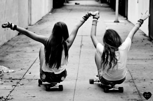 black and white, fashion, friends, girls, holding hands, love, skate, skating, style