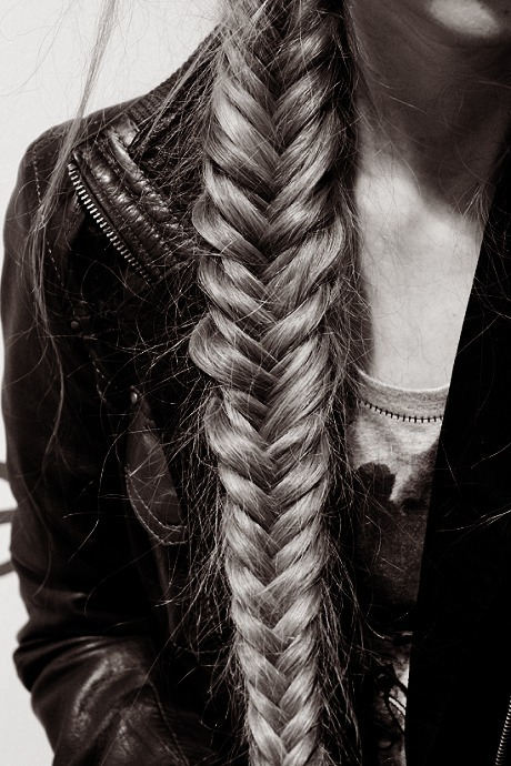 black and white, fish tail, girl, long hair, plait