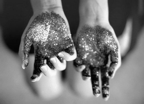 black and white, girl, glitter, hands