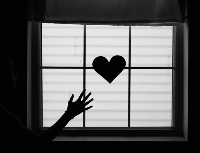 black and white, girl, heart, light, love