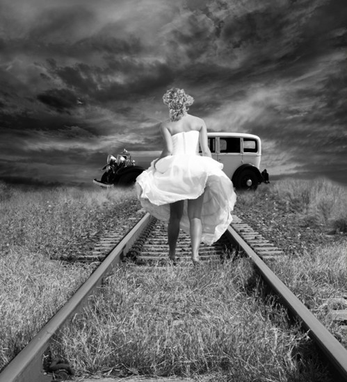 black and white, girl, railway, vintage