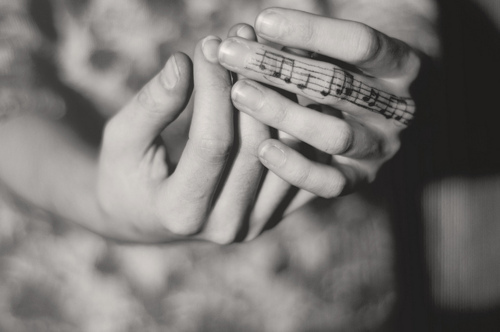 black and white, hands, music, note, photography, tattoo, tattoos