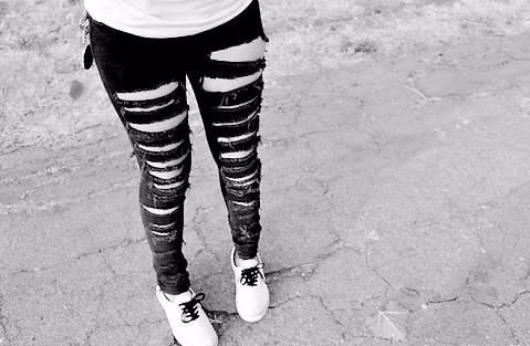 black and white, jeans, ripped, sneaker