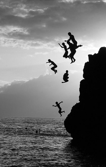 black and white, jump, photography