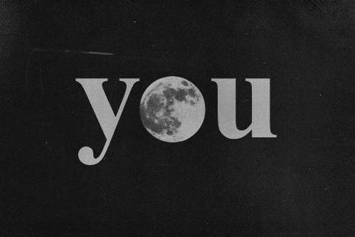 black and white, love, moon, stars, text