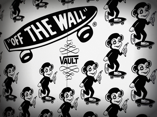 black and white, monkey, vans, vans of the wall