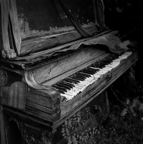 black and white, old, piano