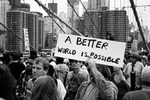 black and white, people, protest, sign, text, world