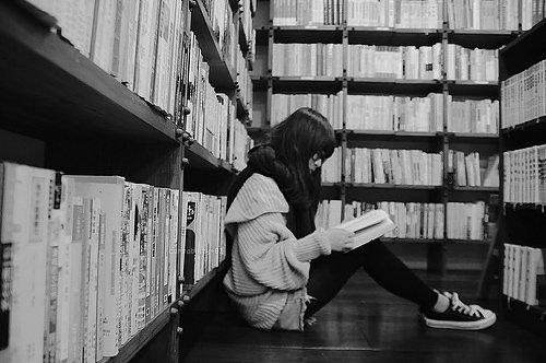 black, black and white, books, fashion, girl