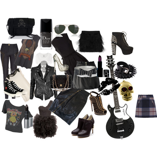 black, black and white, dress, fashion, guitar, jacket, lipstick, pink floyd, rock, rock and roll, rock on, shoe, shoes, skull, style, sunglasses