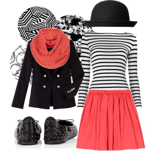 black, blazer, chic, flats, hat, high wasted, outfit, paris, pink, polyvore, scarf, skirt, stripes, stud, studded, white