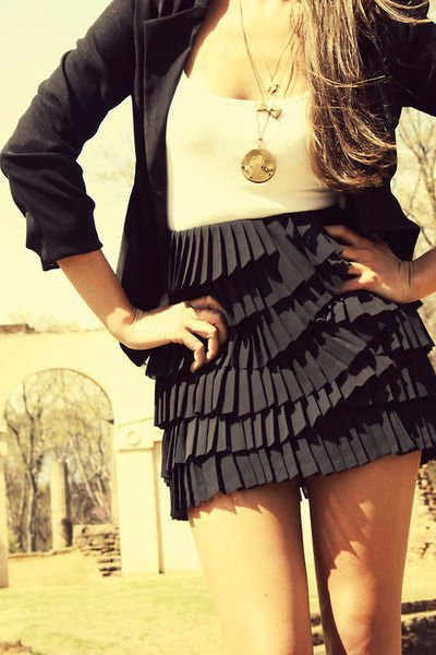 black, blazer, fashion, girl, necklace, skirt, white shirt