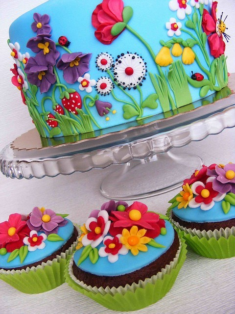 black, blue, cake, colorful, cupcakes